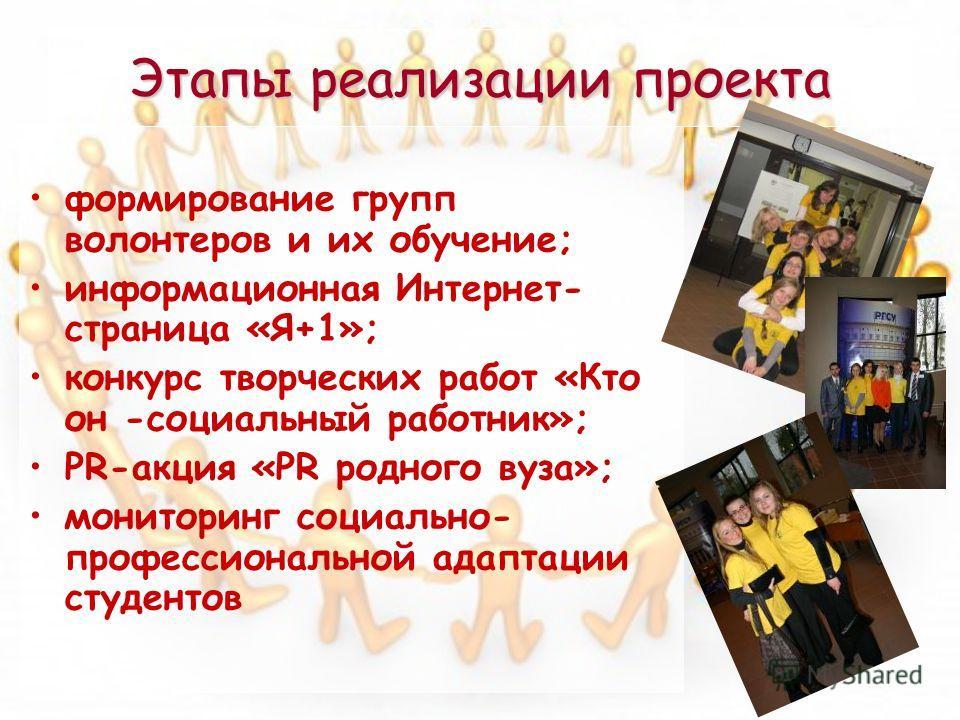 Этапы реализации проекта формирование групп волонтеров и их обучение; информационная Интернет- страница «Я+1»; конкурс творческих работ «Кто он -социальный работник»; PR-акция «PR родного вуза»; мониторинг социально- профессиональной адаптации студен