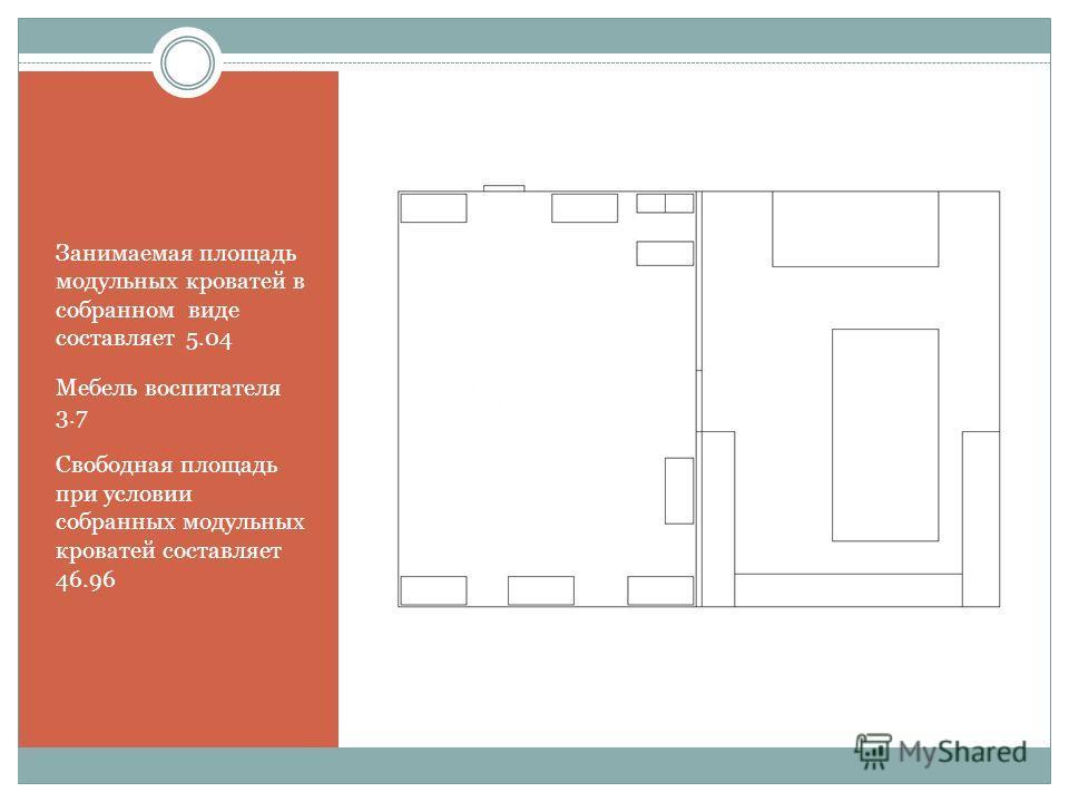 Занимаемая площадь модульных кроватей в собранном виде составляет 5.04 Мебель воспитателя 3.7 Свободная площадь при условии собранных модульных кроватей составляет 46.96