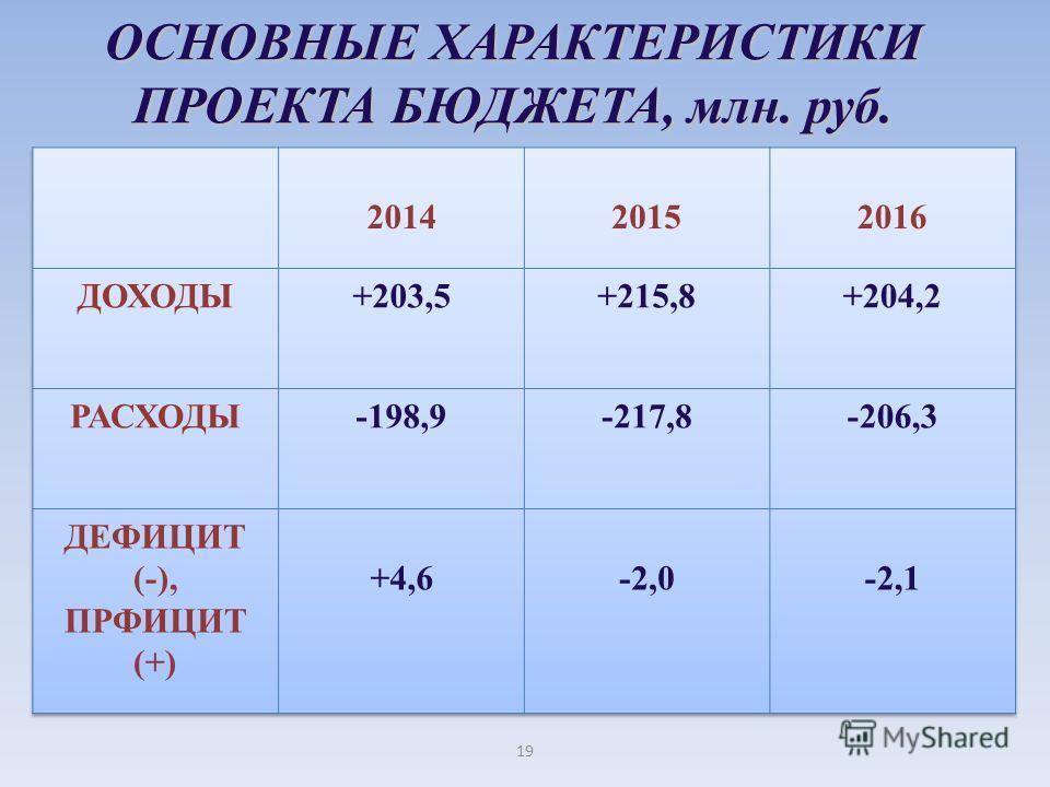 ОСНОВНЫЕ ХАРАКТЕРИСТИКИ ПРОЕКТА БЮДЖЕТА, млн. руб. 19