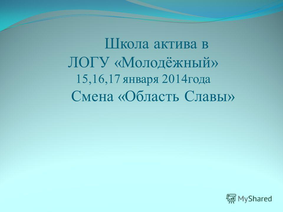 Школа актива в ЛОГУ «Молодёжный» 15,16,17 января 2014года Смена «Область Славы»