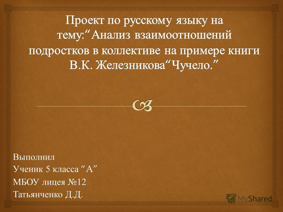 Выполнил Ученик 5 класса A МБОУ лицея 12 Татьянченко Д. Д.