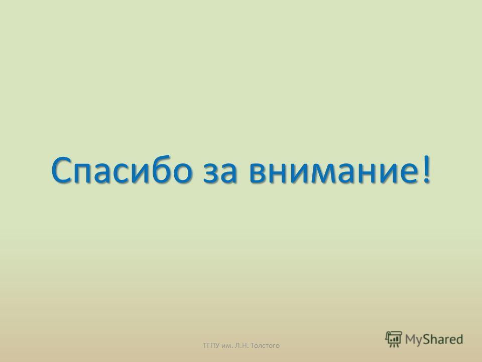 Спасибо за внимание! ТГПУ им. Л.Н. Толстого