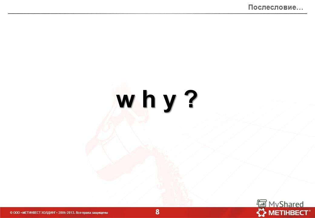 8 w h y ?w h y ?w h y ?w h y ? © ООО «МЕТИНВЕСТ ХОЛДИНГ» 2006-2013. Все права защищены Послесловие…