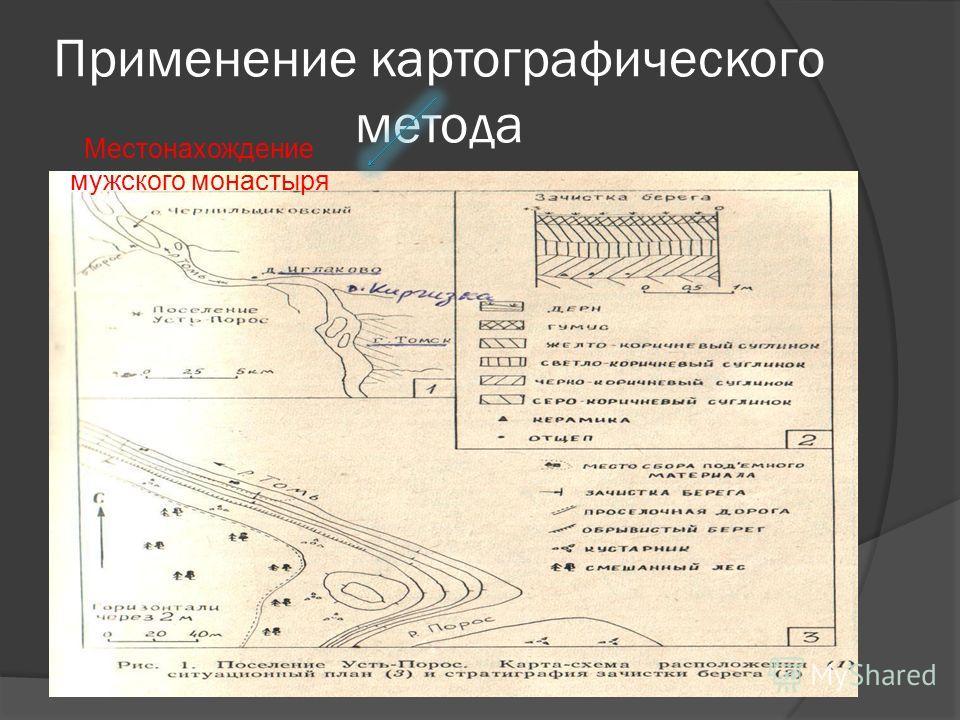 Применение картографического метода Местонахождение мужского монастыря