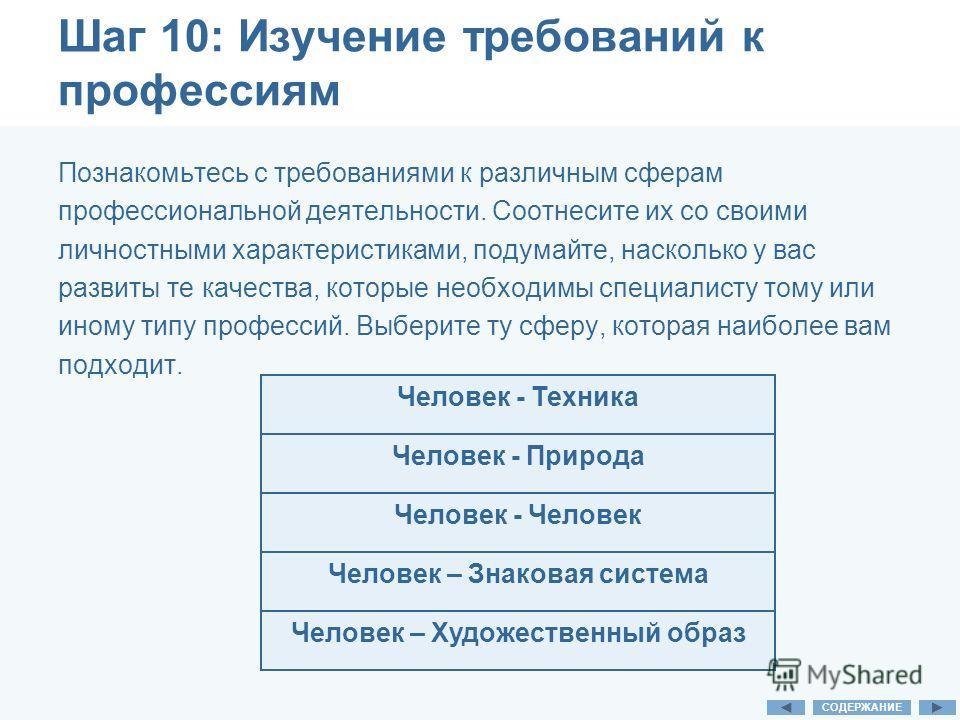 Шаг 10: Изучение требований к профессиям Познакомьтесь с требованиями к различным сферам профессиональной деятельности. Соотнесите их со своими личностными характеристиками, подумайте, насколько у вас развиты те качества, которые необходимы специалис