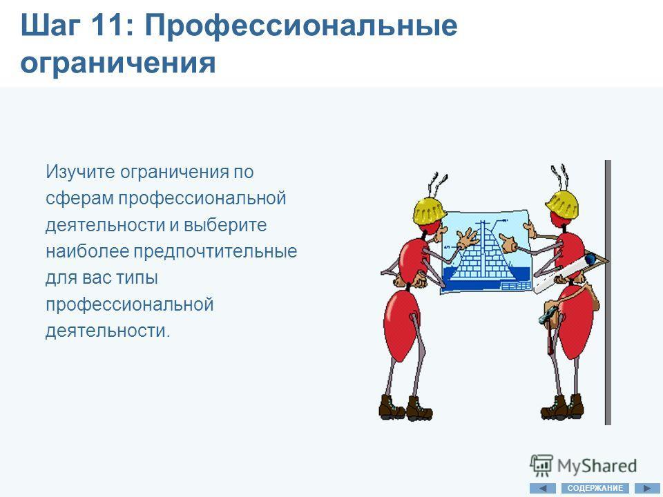 Шаг 11: Профессиональные ограничения Изучите ограничения по сферам профессиональной деятельности и выберите наиболее предпочтительные для вас типы профессиональной деятельности. СОДЕРЖАНИЕ