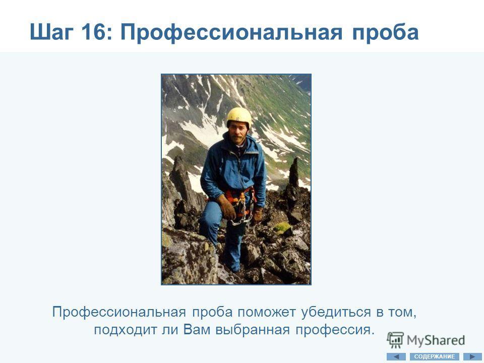 Шаг 16: Профессиональная проба Профессиональная проба поможет убедиться в том, подходит ли Вам выбранная профессия. СОДЕРЖАНИЕ