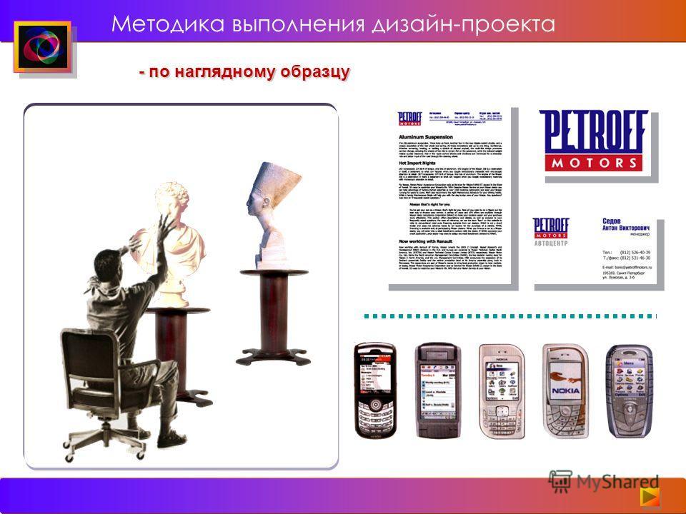 - по наглядному образцу Методика выполнения дизайн-проекта