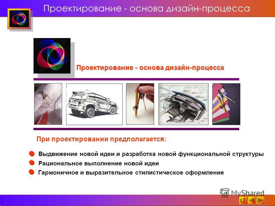 Проектирование - основа дизайн-процесса При проектировании предполагается: Выдвижение новой идеи и разработка новой функциональной структуры Рациональное выполнение новой идеи Гармоничное и выразительное стилистическое оформление