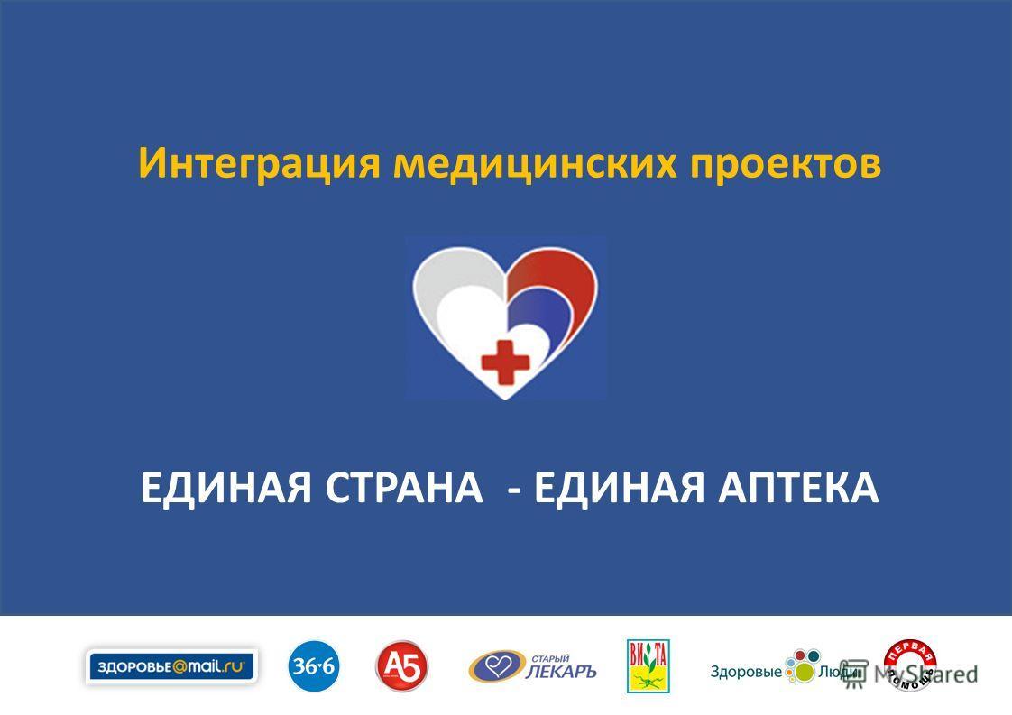 1 Интеграция медицинских проектов ЕДИНАЯ СТРАНА - ЕДИНАЯ АПТЕКА