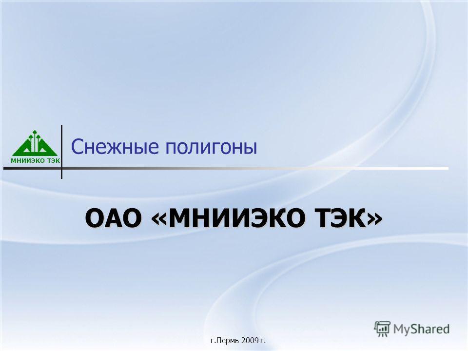 МНИИЭКО ТЭК Снежные полигоны ОАО «МНИИЭКО ТЭК» г.Пермь 2009 г.