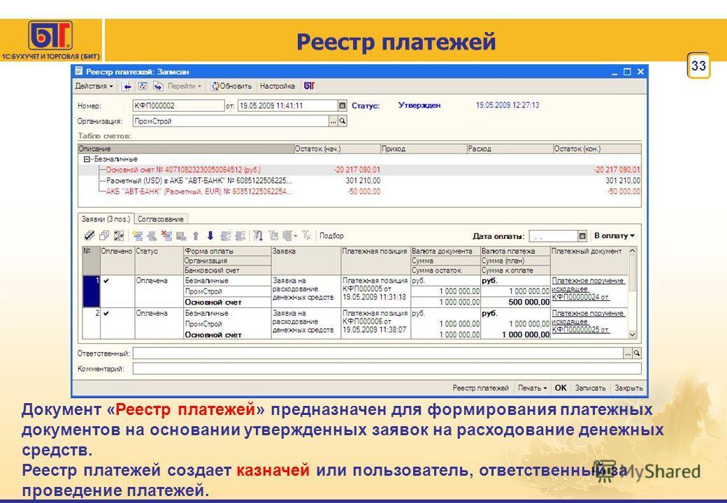 33 Реестр платежей Документ «Реестр платежей» предназначен для формирования платежных документов на основании утвержденных заявок на расходование денежных средств. Реестр платежей создает казначей или пользователь, ответственный за проведение платеже