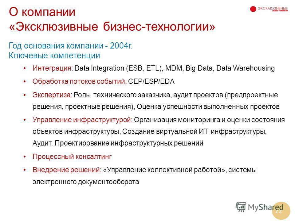 22 О компании «Эксклюзивные бизнес-технологии» Год основания компании - 2004г. Ключевые компетенции Интеграция: Data Integration (ESB, ETL), MDM, Big Data, Data Warehousing Обработка потоков событий: CEP/ESP/EDA Экспертиза: Роль технического заказчик