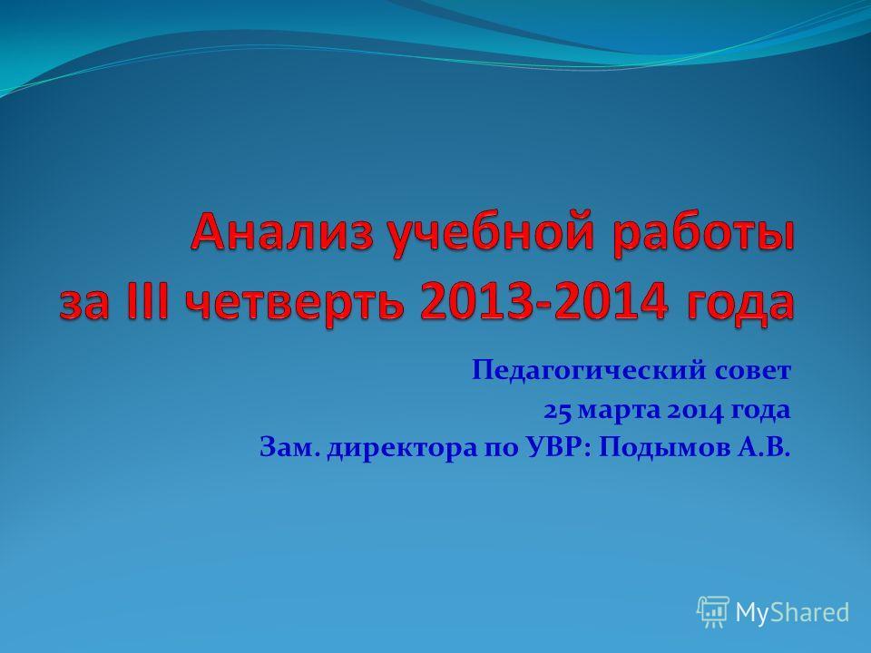 Педагогический совет 25 марта 2014 года Зам. директора по УВР: Подымов А.В.