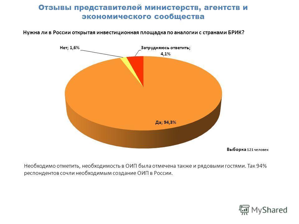 Нужна ли в России открытая инвестиционная площадка по аналогии с странами БРИК? Отзывы представителей министерств, агентств и экономического сообщества Выборка 121 человек Необходимо отметить, необходимость в ОИП была отмечена также и рядовыми гостям