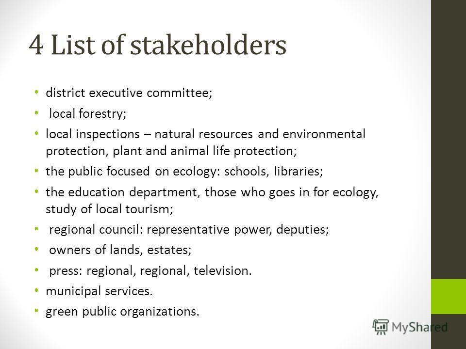 4 List of stakeholders district executive committee; local forestry; local inspections – natural resources and environmental protection, plant and animal life protection; the public focused on ecology: schools, libraries; the education department, th