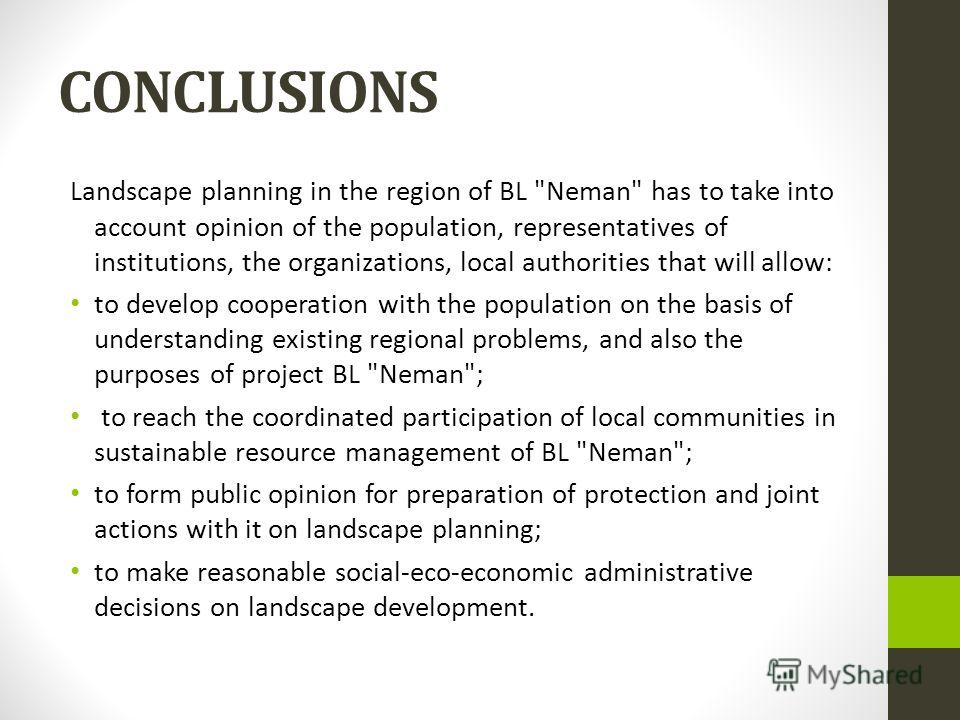 CONCLUSIONS Landscape planning in the region of BL