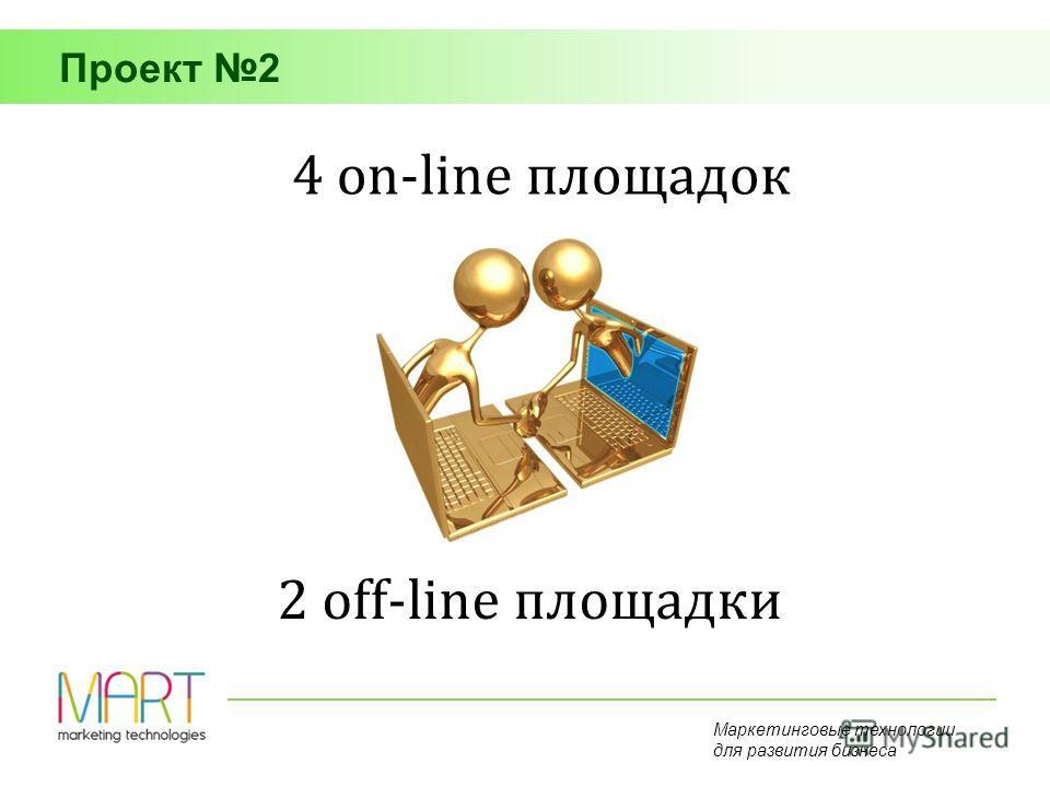 Маркетинговые технологии для развития бизнеса 4 on-line площадок 2 off-line площадки Проект 2