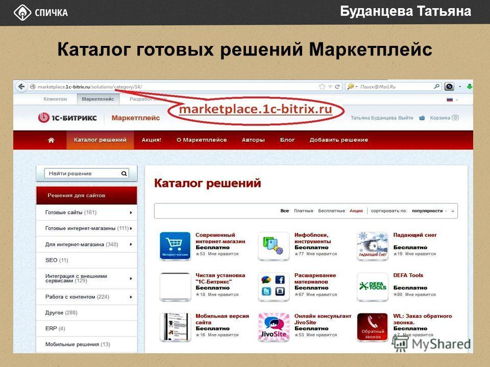 Каталог готовых решений Маркетплейс Буданцева Татьяна