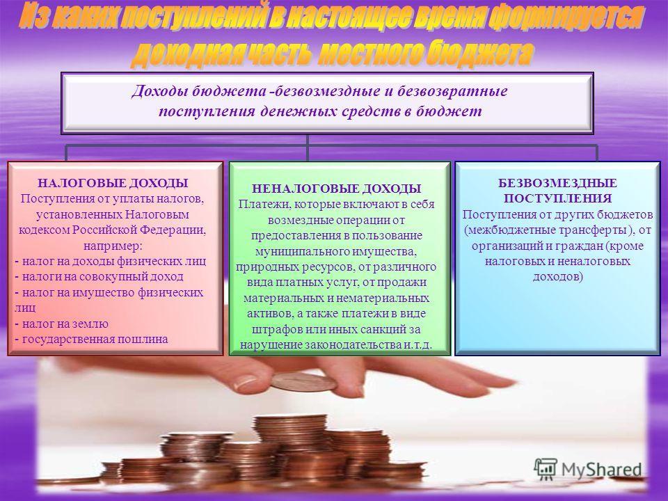 НАЛОГОВЫЕ ДОХОДЫ Поступления от уплаты налогов, установленных Налоговым кодексом Российской Федерации, например: - налог на доходы физических лиц - налоги на совокупный доход - налог на имущество физических лиц - налог на землю - государственная пошл