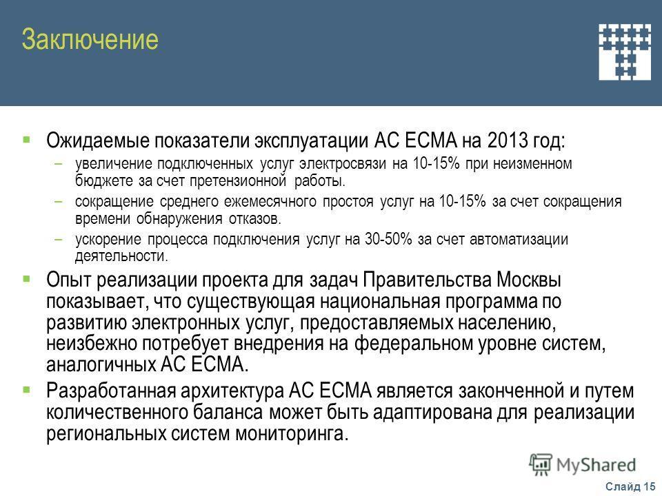 Слайд 15 Заключение Ожидаемые показатели эксплуатации АС ЕСМА на 2013 год: –увеличение подключенных услуг электросвязи на 10-15% при неизменном бюджете за счет претензионной работы. –сокращение среднего ежемесячного простоя услуг на 10-15% за счет со