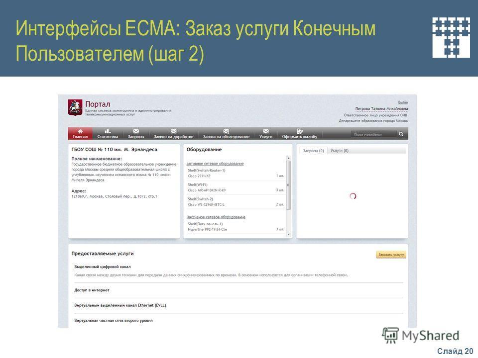 Слайд 20 Интерфейсы ЕСМА: Заказ услуги Конечным Пользователем (шаг 2)