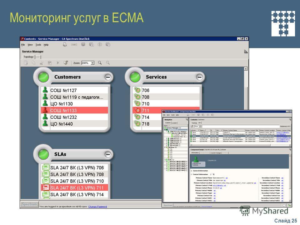 Слайд 25 Мониторинг услуг в ЕСМА
