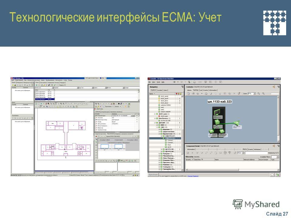Слайд 27 Технологические интерфейсы ЕСМА: Учет