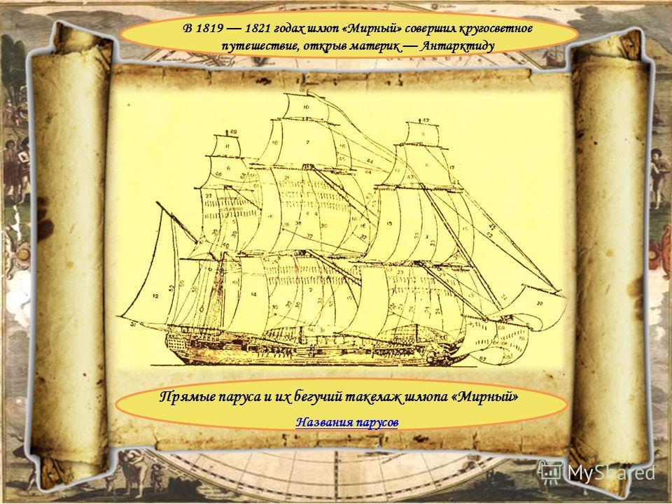Прямые паруса и их бегучий такелаж шлюпа «Мирный» В 1819 1821 годах шлюп «Мирный» совершил кругосветное путешествие, открыв материк Антарктиду Названия парусов