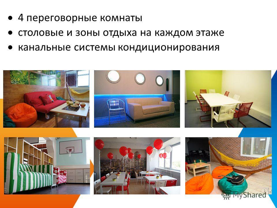 4 переговорные комнаты cтоловые и зоны отдыха на каждом этаже канальные системы кондиционирования