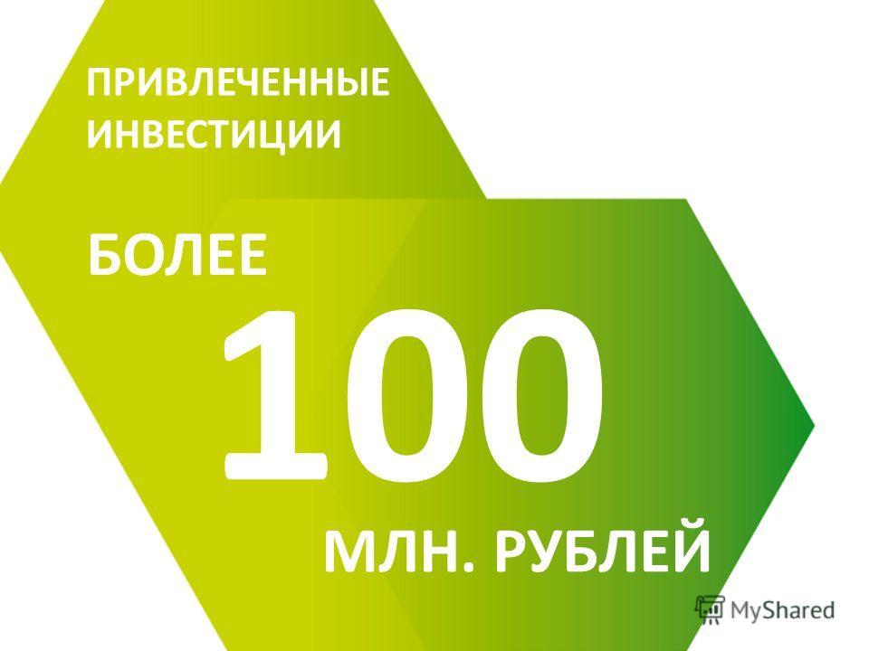 100 ПРИВЛЕЧЕННЫЕ ИНВЕСТИЦИИ БОЛЕЕ МЛН. РУБЛЕЙ