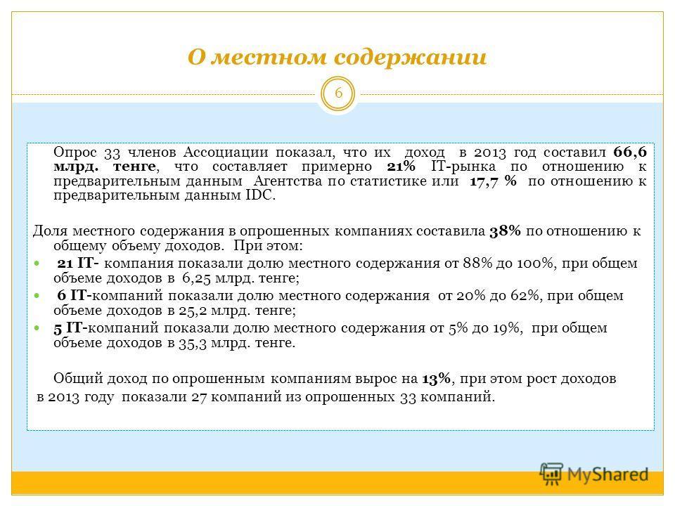 О местном содержании Опрос 33 членов Ассоциации показал, что их доход в 2013 год составил 66,6 млрд. тенге, что составляет примерно 21% IT-рынка по отношению к предварительным данным Агентства по статистике или 17,7 % по отношению к предварительным д