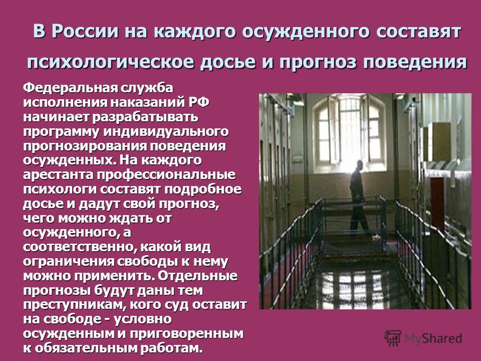 В России на каждого осужденного составят психологическое досье и прогноз поведения Федеральная служба исполнения наказаний РФ начинает разрабатывать программу индивидуального прогнозирования поведения осужденных. На каждого арестанта профессиональные