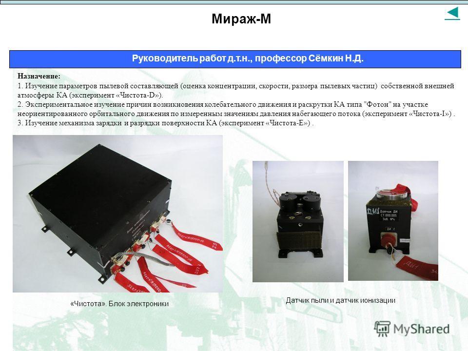 Мираж-М Руководитель работ д.т.н., профессор Сёмкин Н.Д. Назначение: 1. Изучение параметров пылевой составляющей (оценка концентрации, скорости, размера пылевых частиц) собственной внешней атмосферы КА (эксперимент «Чистота-D»). 2. Экспериментальное