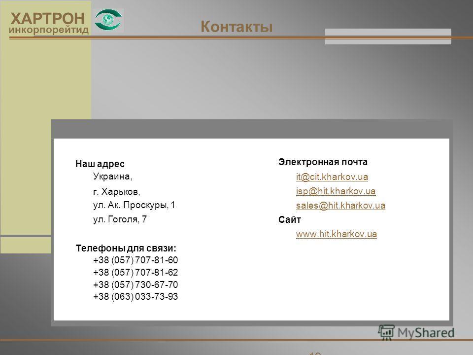 19 ХАРТРОН инкорпорейтид Контакты Наш адрес Украина, г. Харьков, ул. Ак. Проскуры, 1 ул. Гоголя, 7 Телефоны для связи: +38 (057) 707-81-60 +38 (057) 707-81-62 +38 (057) 730-67-70 +38 (063) 033-73-93 Электронная почта it@cit.kharkov.ua isp@hit.kharkov