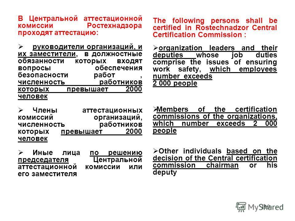 АТТЕСТАЦИОННАЯ КОМИССИЯ ПОДНАДЗОРНОЙ ОРГАНИЗАЦИИ (ПРИКАЗ О СОЗДАНИИ) ПРЕДСЕДАТЕЛЬ –ОДИН ИЗ РУКОВОДИТЕЛЕЙ ОРГАНИЗАЦИИ ЧЛЕНЫ КОМИССИИ (аттестованные в АК Ростехнадзора или АК основной организации) - –руководители и главные специалисты организации –руко