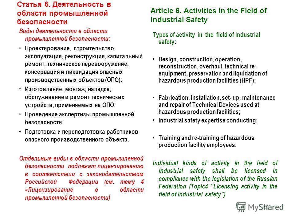 Статья 4. Правовое регулирование в области промышленной безопасности П. 3 Федеральные нормы и правила в области промышленной безопасности устанавливают обязательные требования к: осуществлению деятельности в области промышленной безопасности, в том ч