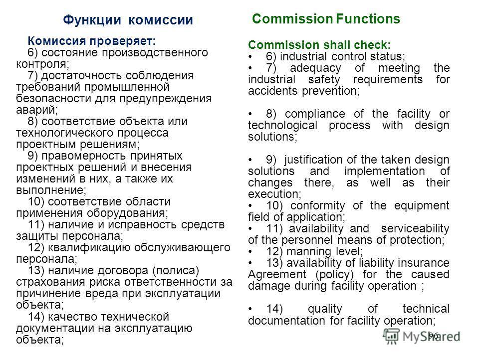 Функции комиссии Комиссия: 1) производит осмотр, фотографирование (в цвете), в необходимых случаях - видеосъемку, составляет схемы и эскизы места аварии, протокол осмотра места аварии; 2) взаимодействует со спасательными подразделениями, рассматривае