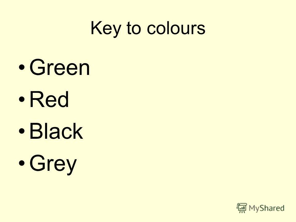 Key to colours Green Red Black Grey