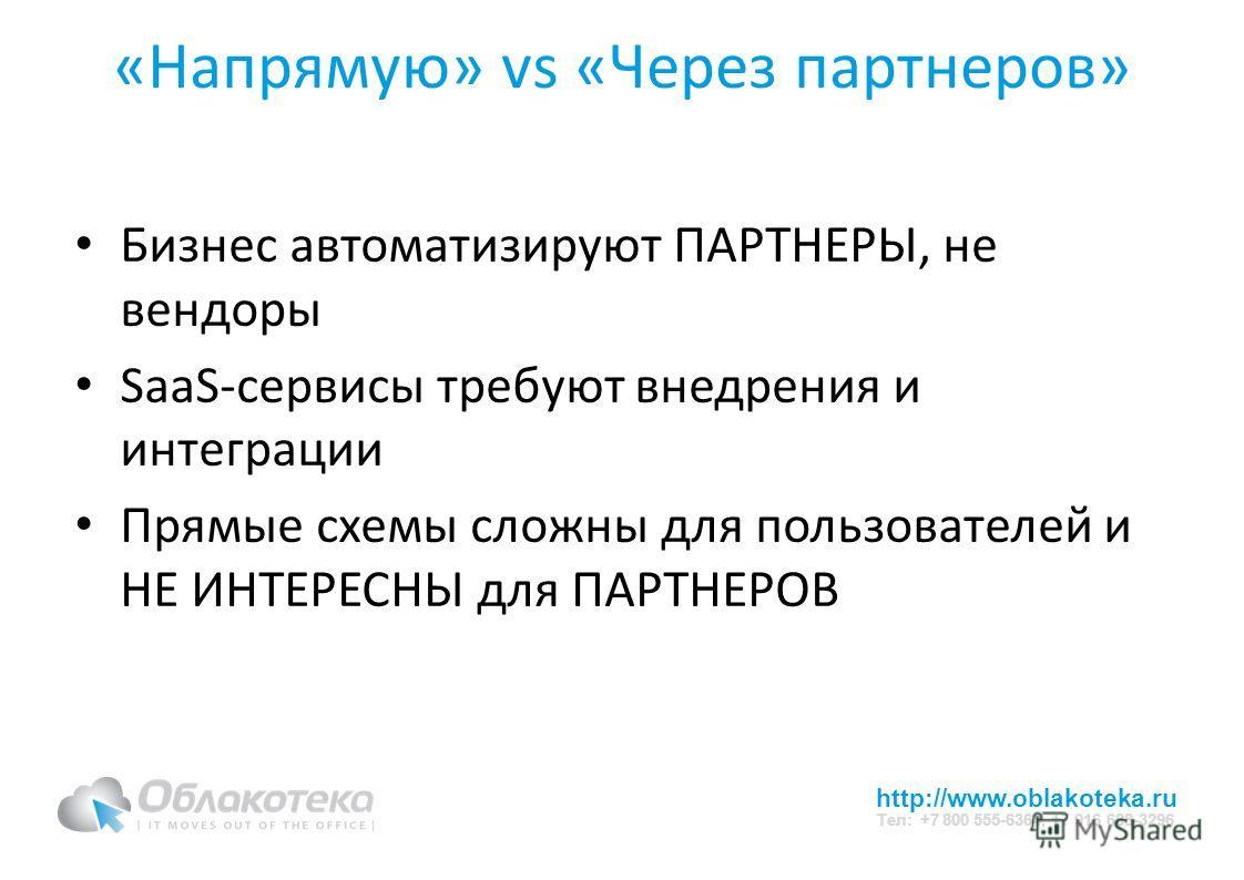 http://www.oblakoteka.ru Тел: +7 800 555-6364, +7 916 688-3296 «Напрямую» vs «Через партнеров» Бизнес автоматизируют ПАРТНЕРЫ, не вендоры SaaS-сервисы требуют внедрения и интеграции Прямые схемы сложны для пользователей и НЕ ИНТЕРЕСНЫ для ПАРТНЕРОВ