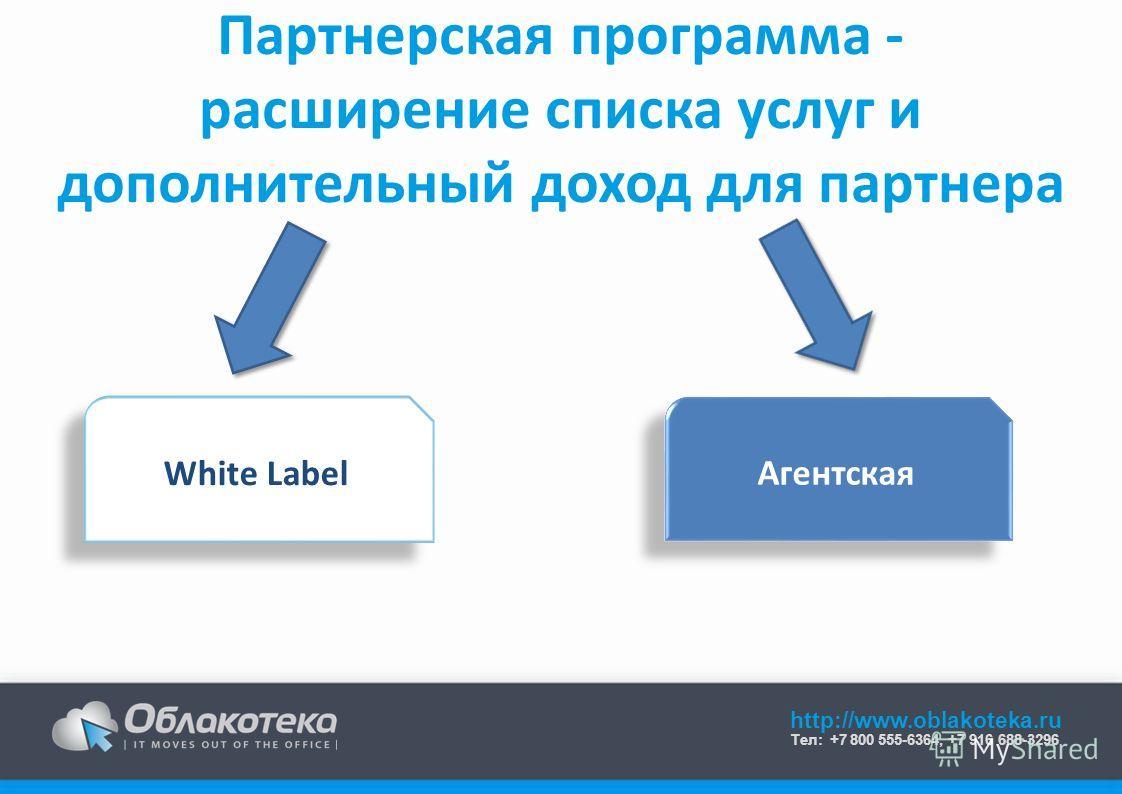 http://www.oblakoteka.ru Тел: +7 800 555-6364, +7 916 688-3296 Партнерская программа - расширение списка услуг и дополнительный доход для партнера White Label Агентская