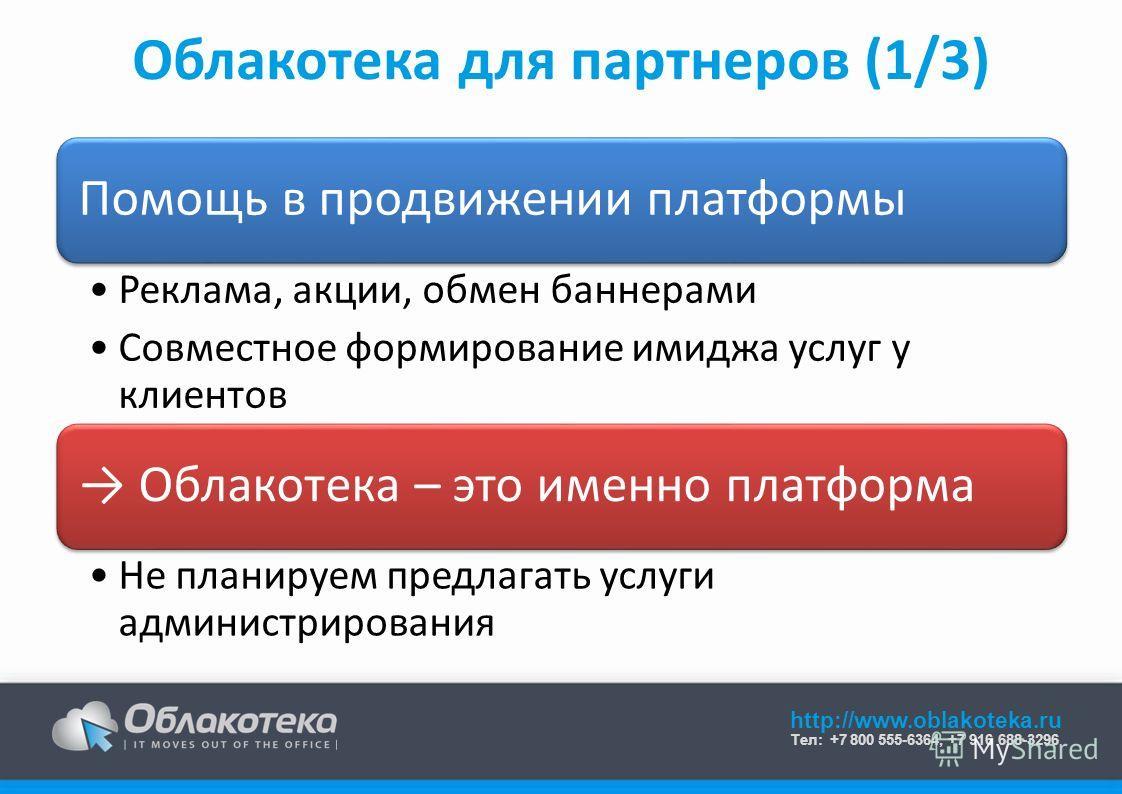 http://www.oblakoteka.ru Тел: +7 800 555-6364, +7 916 688-3296 Облакотека для партнеров (1/3) Помощь в продвижении платформы Реклама, акции, обмен баннерами Совместное формирование имиджа услуг у клиентов Облакотека – это именно платформа Не планируе