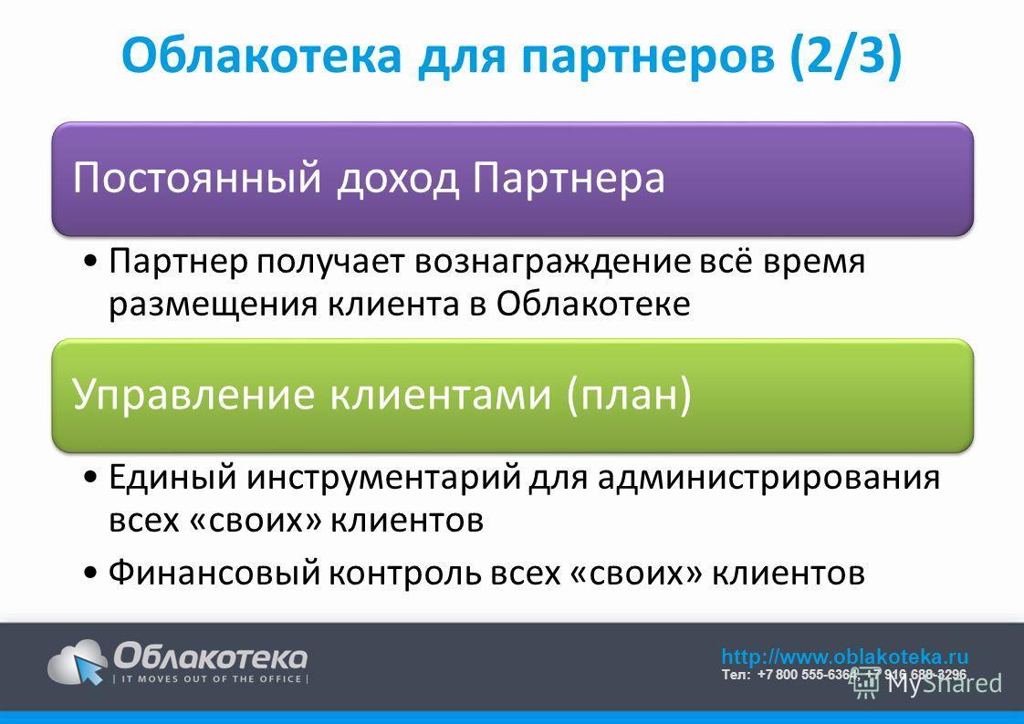 http://www.oblakoteka.ru Тел: +7 800 555-6364, +7 916 688-3296 Облакотека для партнеров (2/3) Постоянный доход Партнера Партнер получает вознаграждение всё время размещения клиента в Облакотеке Управление клиентами (план) Единый инструментарий для ад