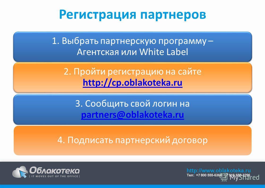 http://www.oblakoteka.ru Тел: +7 800 555-6364, +7 916 688-3296 Регистрация партнеров 1. Выбрать партнерскую программу – Агентская или White Label 2. Пройти регистрацию на сайте http://cp.oblakoteka.ru http://cp.oblakoteka.ru 3. Сообщить свой логин на