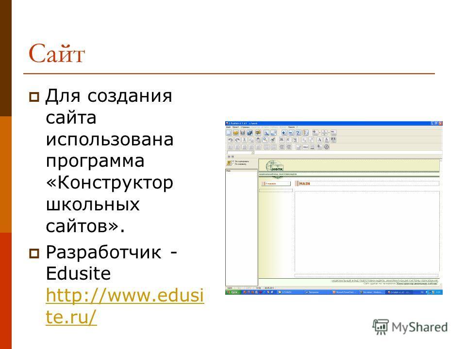 Сайт Для создания сайта использована программа «Конструктор школьных сайтов». Разработчик - Edusite http://www.edusi te.ru/ http://www.edusi te.ru/