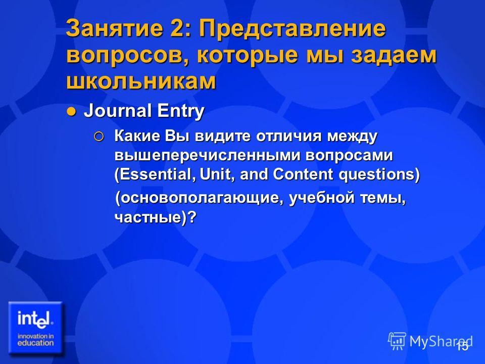 15 Занятие 2: Представление вопросов, которые мы задаем школьникам Journal Entry Journal Entry Какие Вы видите отличия между вышеперечисленными вопросами (Essential, Unit, and Content questions) Какие Вы видите отличия между вышеперечисленными вопрос
