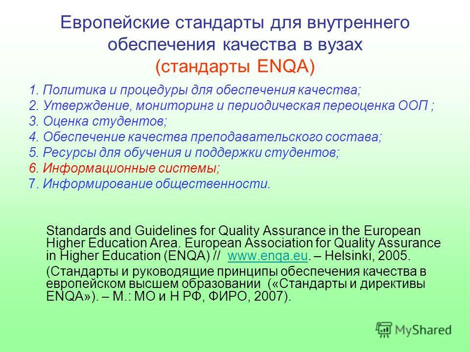 Европейские стандарты для внутреннего обеспечения качества в вузах (стандарты ENQA) 1. Политика и процедуры для обеспечения качества; 2. Утверждение, мониторинг и периодическая переоценка ООП ; 3. Оценка студентов; 4. Обеспечение качества преподавате