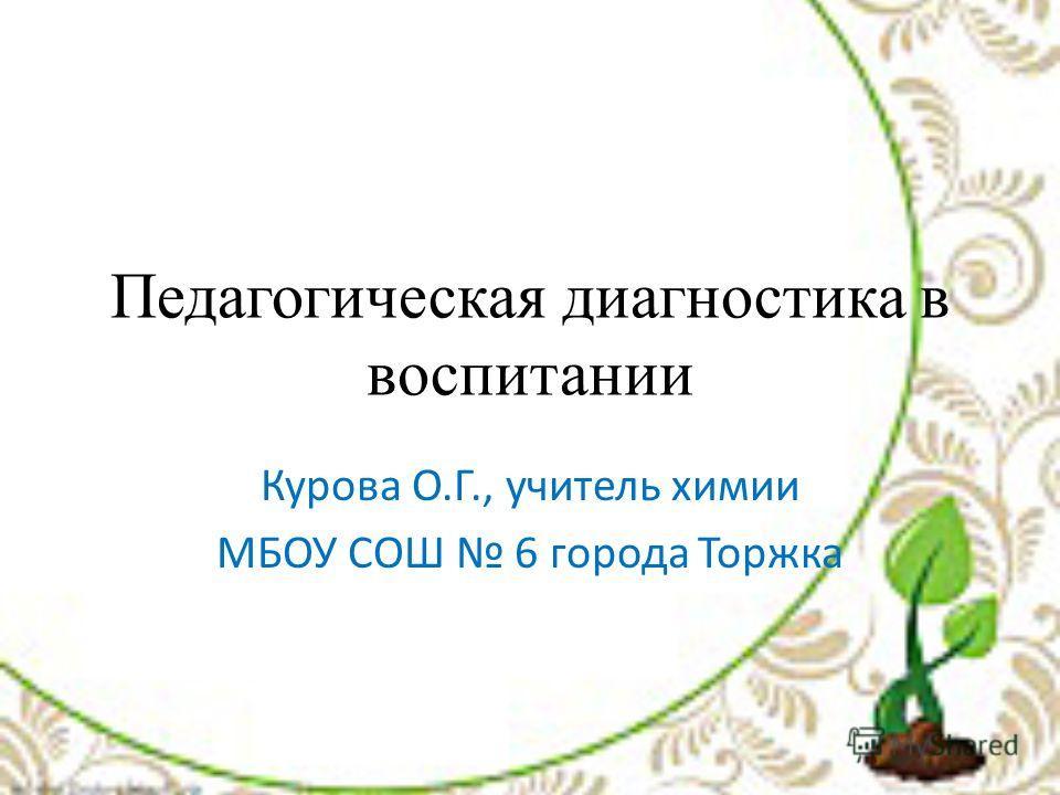 Педагогическая диагностика в воспитании Курова О.Г., учитель химии МБОУ СОШ 6 города Торжка