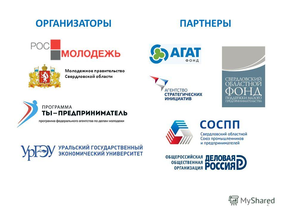 2 ОРГАНИЗАТОРЫПАРТНЕРЫ Молодежное правительство Свердловской области