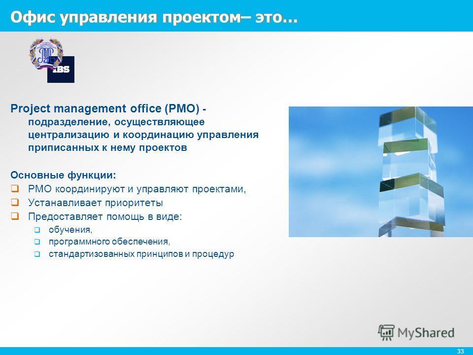 33 Офис управления проектом– это… Project management office (PMO) - подразделение, осуществляющее централизацию и координацию управления приписанных к нему проектов Основные функции: PMO координируют и управляют проектами, Устанавливает приоритеты Пр